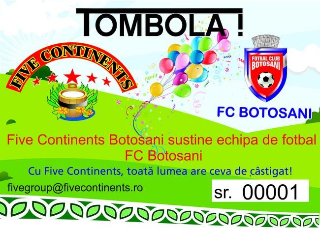 Tombolă organizată de Five Continents şi Voronskaya la partida FC Botoşani- Steaua